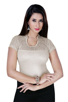 Silver solid  stretch stitched blouse