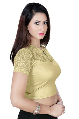 Gold solid  stretch stitched blouse