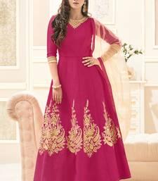 Buy Rani pink multi resham work silk salwar with dupatta abaya-suit online