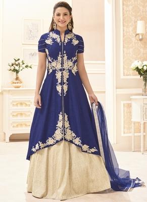 Royal blue multi resham work silk salwar with dupatta