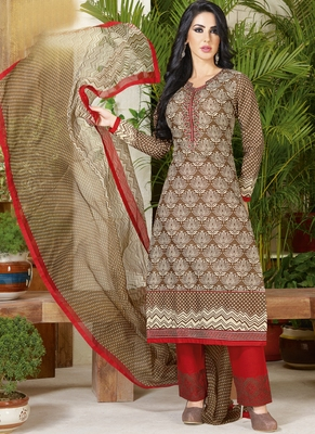 Beige embroidered cotton salwar with dupatta