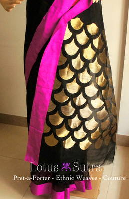 Classic Black Chanderi-Kareena style + contemporary touch