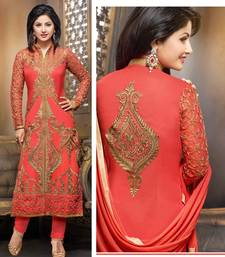 Buy Orange embroidered georgette salwar with dupatta semi-stitched-salwar-suit online