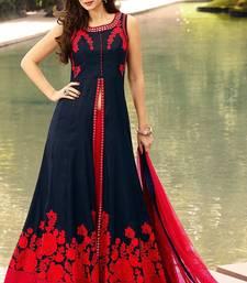 Buy Blue embroidered bhagalpuri cotton salwar with dupatta semi-stitched-salwar-suit online