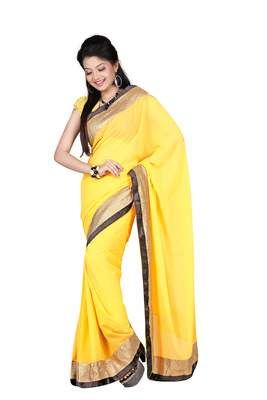Yellow Embroidered Satin Saree With Blouse