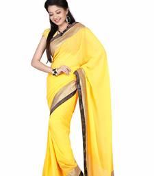 Buy Yellow Embroidered Satin Saree With Blouse satin-saree online