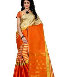 Buy Orange hand woven cotton saree with blouse cotton-saree online