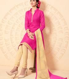 Buy Magenta plain chanderi salwar with dupatta salwar-kameez online