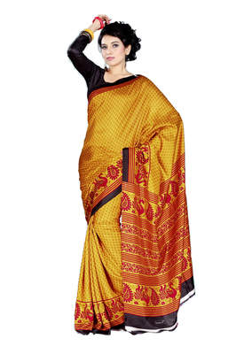 Yellow Printed Tussar Silk Saree Without Blouse
