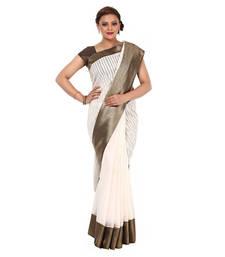 Buy White woven organza saree with blouse banarasi-saree online