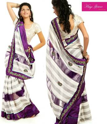 Designer Cotton  and Net Saree with Purple Unstitched Blouse