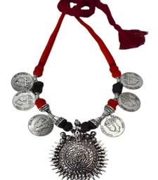 Buy Threaded German Silver Necklace/Pandent- Red and Black with Sun Pendant Necklace online