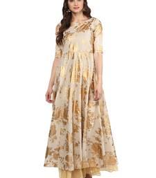 Beige printed Cotton stitched kurti