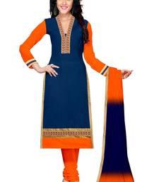 Buy Navy blue embroidered cotton salwar with dupatta salwar-kameez-below-2000 online