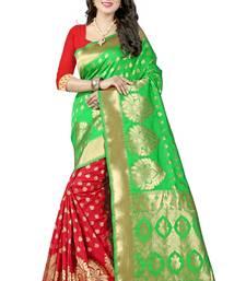 Buy Green printed banarasi silk saree with blouse banarasi-silk-saree online