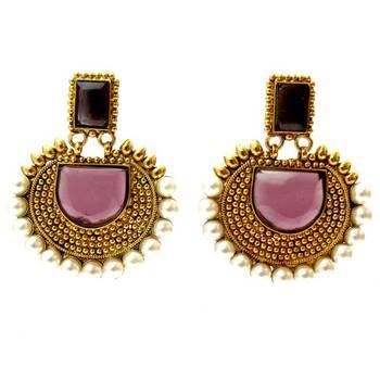 Rectangular Semicircle Stone Earrings - Purple