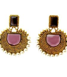Buy Rectangular Semicircle Stone Earrings - Purple  danglers-drop online