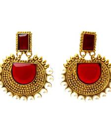 Buy Rectangular Semicircle Stone Earrings - Red danglers-drop online