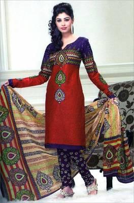 Cotton Designer Printed Dress Material - ASG8102DM