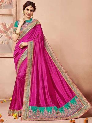 Pink plain silk saree with blouse