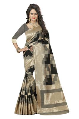 Black printed kanchipuram silk saree with blouse