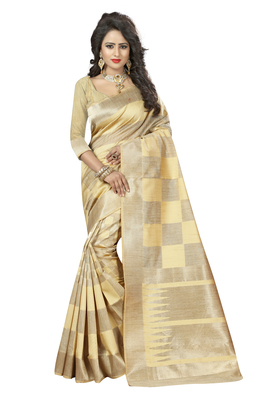 Cream printed kanchipuram silk saree with blouse