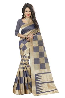 Grey printed kanchipuram silk saree with blouse