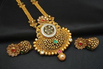 Gorgeous Multicolour Stone Studded Gold Long Necklace Set