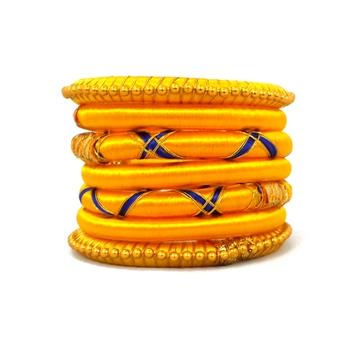 Stylish and Elegant YELLOW Silk thread bangle  (7 PCS)