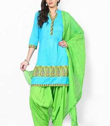 Parrot Green Solid Patiala Salwar With Dupatta - PAT3