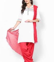 Red Solid Patiala Salwar With Dupatta - PAT7