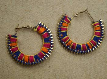 color block zip your ear hand embroidered hoops