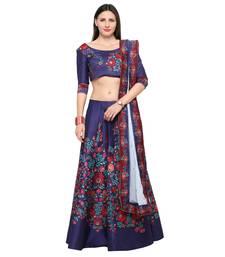 Buy Blue printed silk unstitched lehenga floral-lehenga online