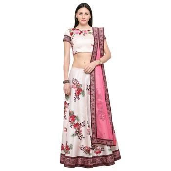 Digital printed silk white unstitched lehenga party wear dress