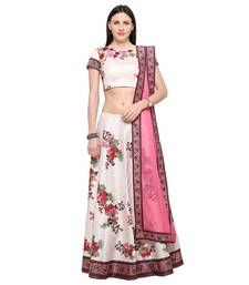 Buy Digital printed silk white unstitched lehenga party wear dress floral-lehenga online