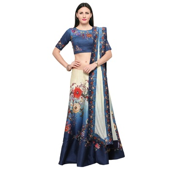 Blue printed silk unstitched lehenga