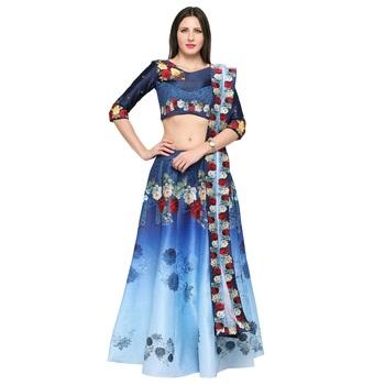 Blue printed silk unstitched lehenga