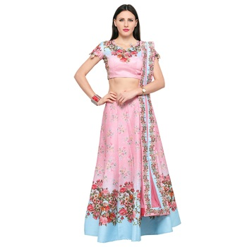 Pink printed silk unstitched lehenga