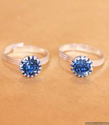 Blue Zircon Studded Adjustable Toe Ring