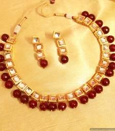 Buy Red Onyx Kundan Single Line Necklace Set necklace-set online