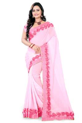 Light baby pink woven georgette saree with blouse