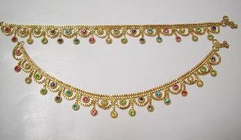 Golden Payal Color Stone