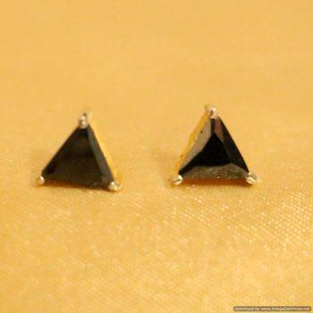 Black Onyx Gold Plated Traingle Shaped Studs