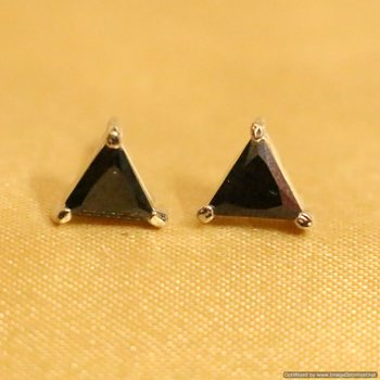Black Onyx Silver Plated Triangle Shaped Studs