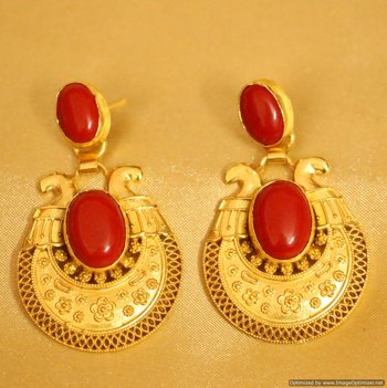 Coral Gold Plated Filigree Pattern Earrrings