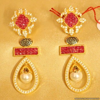 Ruby Golk Plated Diamond Look Danglers