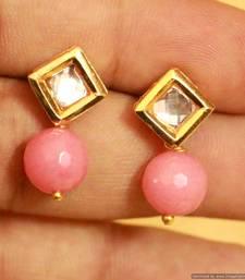 Pink Onyx Kundan Meenakari Studs