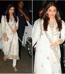 Buy White embroidered silk salwar with dupatta wedding-season-sale online