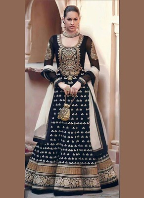 Black Embroidered Georgette Semi-Stitched Churidar Anarkali Suit