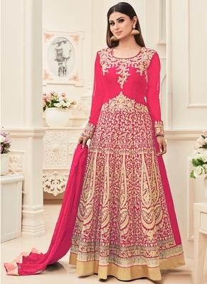 Rani Pink Multi Resham Work Banarasi Silk Salwar With Dupatta